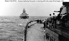 Seen from the heavy cruiser Prinz Eugen    Seen from the heavy cruiser Prinz Eugen as the two ships practiced towing and refueling by trailing hose, circa April-May 1941.