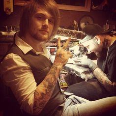 Danny Worsnop getting tattooed by Clint Cummings.