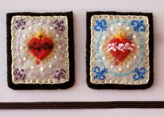 Embroidered Brown Scapular: Fleur-de-Lis on Cream-Colored Felt and Wool