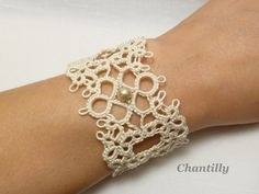 Tatted Lace wide Cuff Bracelet in cream -Chantilly -MTO. $36.00, via Etsy.
