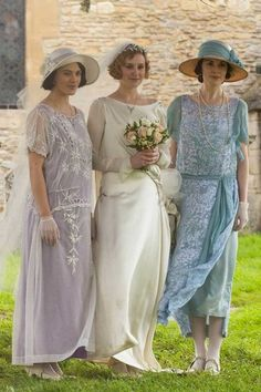 Downton Abbey: Inspiration for Madeleine's wedding dress and Catharine and Mimi's bridesmaid's dresses.