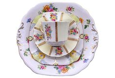 White & Yellow Mixed Floral  China
