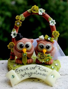 Wedding cake topper chocolate owl bride and groom by PerlillaPets