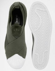 Image 3 of adidas Originals Khaki Superstar Slip On Trainers