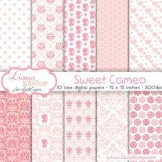 Free digital paper pack – Sweet Cameo Set - http://www.lianascrap.com/free-digital-paper-pack-sweet-cameo-set/