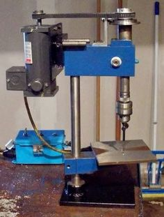 Finishing Drill Press by JimGlass -- Homemade finishing drill press intended for use in secondary operations after milling. http://www.homemadetools.net/homemade-finishing-drill-press