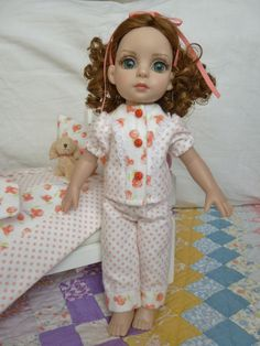 """This outfit is for 10"""" Patsy doll by Robert Tonner and is made from quality cotton flannel fabric. All ready for those cold nights, Patsy will be sure to keep warm. Her little pajamas are white with coral polka dots trimmed with coral roses on a white background, tiny lace added to top and around legs and top snaps in the front with little button sewn over snaps.   eBay!"""