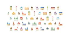 """Pattern: Houses"" −RiLi, picture book, illustration, design ___ ""パターン: 家"" −リリ, 絵本, イラスト, デザイン ...... #illustration #house #color #イラスト #家 #色"