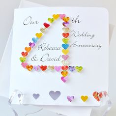 Handmade 3D 4th Wedding Anniversary Card Personalised Fourth Personalized Husband Wife