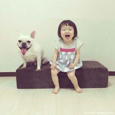 真似っこ❤️ #frenchbulldog #frenchie #dog #daughter #babygirl #フレンチブルドッグ #女の子