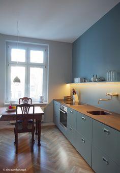 Küche, kitchen, Berlin, Interior Design, Boden, Holz, Farrow & Ball. Einraumkonzept, Planung, Einrichtungsberatung, Entwurf, messing. www.ein-raumkozept.de