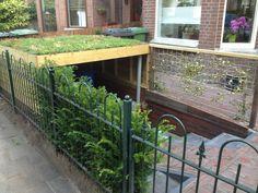 Verzonken tuinschuur met ecodak! Met trap en fietsgoot, water wordt onderaan opgevangen en weggepompt.