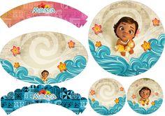 Moana Bebé: Wrappers y Toppers para Cupcakes para Imprimir Gratis.