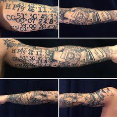 Mens Gps Geo Coordinates Travel Full Sleeve Tattoo With Black Ink