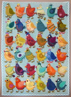 Folk Embroidery Chicks a wall quilt by Sue Spargo embroidery on wool applique Felt Applique, Applique Patterns, Quilt Patterns, Applique Ideas, Motifs D'appliques, Vogel Quilt, Chicken Quilt, Wool Quilts, Wool Applique Quilts