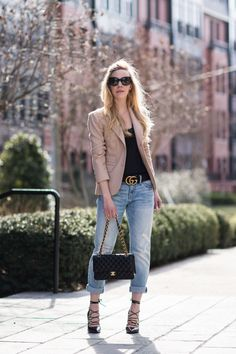 3 Easy Ways to Wear a Lace Camisole - Meagan's Moda Blazer Outfits, Casual Fall Outfits, Spring Outfits, Cool Outfits, Amazing Outfits, Camisole Outfit, Lace Camisole, Boyfriend Jeans Outfit, Gucci Handbags