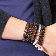 White Howlite Mix Stretch Bracelet Set