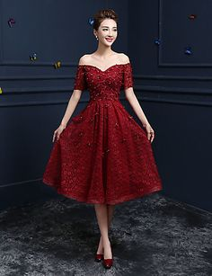 A-Line Off-the-shoulder Tea Length Lace Cocktail Party Homecoming Prom Dress with Appliques Sequins by ARMK