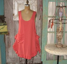 apron dress tunic smock, via Etsy.