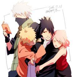 Tags: Fanart, NARUTO, Haruno Sakura, Uzumaki Naruto, Uchiha Sasuke, Hatake Kakashi, Pixiv, Team 7, PNG Conversion, Fanart From Pixiv, Pixiv Id 3513528