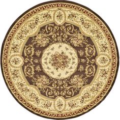 Versailles Brown Area Rug | Wayfair - 8' round $139.49 - Rug Pad Needed: No - Polypropylene, Origin: Turkey, Pile Height: 0.5""