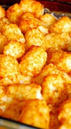 The Best Tater Tot Casserole with Lean Ground Beef or Ground Turkey, Corn or Green Beans, Low Fat Sour Cream, Low Fat Cream of Mushroom Soup, Skim Milk, Salt & Pepper, Garlic Powder, Onion Powder, Cheddar Cheese, and Tater Tots