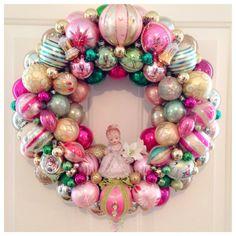 Chic Pink/Green Vintage Ornament Wreath  Large by SugarPlumWreaths