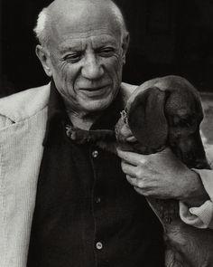 David Douglas Duncan portrait of Picasso and his dog