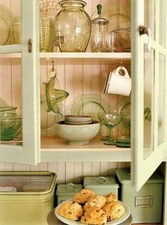 idea for displaying my vaseline depression glass.  I need a Hoosier cabinet desperately!