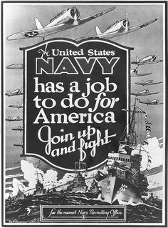 US Navy recruiting poster by Matt Murphey, Oct 1940; note destroyer Drayton featured in the poster
