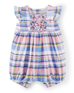 Plaid Cotton Shortall - Baby Girl One-Pieces - RalphLauren.com