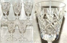 "Five Vintage Crystal Cut Glass 5 1/4"" tall Small Wine or Large Sherry Glasses…"