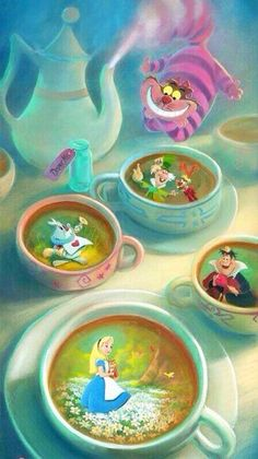 """""""Imagination is Brewing"""" by Rob Kaz. Dedicated to my friend, Hailee, fellow Disney obsessor and Alice in Wonderland fanatic. She is my Alice! Walt Disney, Disney Amor, Disney Love, Disney Magic, Disney And Dreamworks, Disney Pixar, Disney Characters, Disney Poster, Mickey Mouse"""