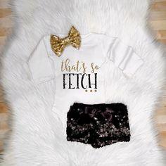 That's So Fetch Mean Girls Baby Bodysuit Shirt Gold Glitter by shopsparkleandspice on Etsy https://www.etsy.com/listing/265203070/thats-so-fetch-mean-girls-baby-bodysuit