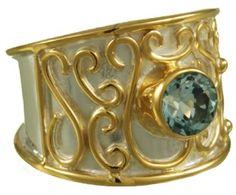 Blue Topaz Scroll Ring