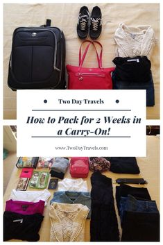 Carry-on packing tips and tricks to help you pack less for your next vacation! One of the toughest things to do while packing for a trip is fitting everything you want to bring with you into your luggage. Carry On Packing, Packing Tips For Vacation, Travel Packing, Budget Travel, Packing Tricks, Travel Hacks, Suitcase Packing, Travel Capsule, Travel Guides