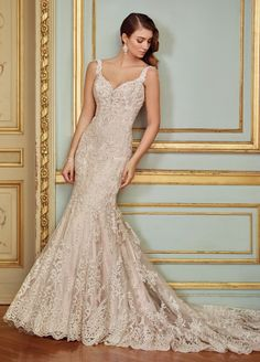 David Tutera for Mon Cheri Spring 2017 Collection & Style No. 117288 Ophira & sleeveless lace trumpet wedding dress with low scooped illusion back The post Vintage Lace & Beaded Trumpet Wedding Dress- 117288 Ophira appeared first on Wedding. Spring 2017 Wedding Dresses, Wedding Dresses With Straps, Sweetheart Wedding Dress, New Wedding Dresses, Bridal Dresses, Mermaid Wedding, Wedding Dress Trumpet, Dresses Uk, Spring Dresses