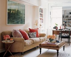 In the library of an apartment in New York City, a George Smith sofa and ottoman, a Chinese Chippendale-style armchair by Louis J. Solomon, and a Louis XVI mahogany desk; the photograph is by Ann Weathersby. By Cathy Triant Buxton
