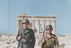 An Italian and a German soldier with the Parthenon in the background, Athens, Greece, May 1941.