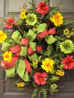 lime green, yellow and pink wreath w/gerbera daisies wild flowers