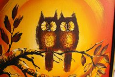 Unique Large Orange Mid Century Owl Painting - Signed Michael - It has a nice retro feel to it. Description from etsy.com. I searched for this on bing.com/images