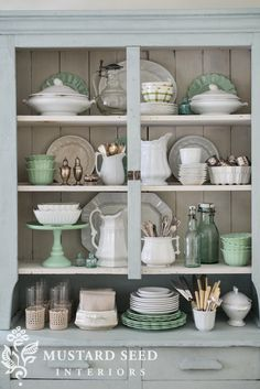 restyling the dining room hutch - Miss Mustard Seed Dining Room Shelves, Dining Room Hutch, Dining Area, Dining Rooms, Cabinet Decor, Kitchen Decor, Kitchen Styling, Kitchen Ideas, Home Decor Inspiration