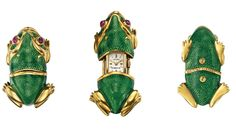 TIFFANY & CO. AND MOVADO A RARE AND AMUSING YELLOW GOLD, ENAMEL AND RUBY-SET FROG-FORM TRAVEL WATCH CIRCA 1960