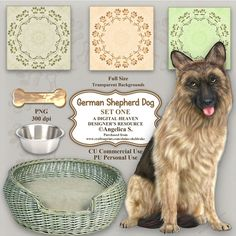 German Shepherd Dog - Set One  Consisting of:  1 x German Shepherd Dog PNG  1 x Dog Basket PNG  1 x Dog's Bowl PNG  1 x Dog's Bone PNG  3 x Backing Papers JPG  1 x CU Derivative Licence    Designer Resource For Commercial Use - Full Size - PNG Transparent Background - 300 dpi  Seven beautiful full size digital embellishments on transparent backgrounds. Perfect for scrapbook pages,  card making and all manner of paper crafts. They can be reduced for taggers and to fit smaller cards an...