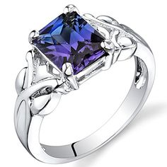 Created Color Change Sapphire Ring Sterling Silver Rhodium Nickel Finish 2.75 Carats Size 6 Peora