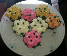 Cupcakes with buttercream flowers piped with Russian tips