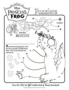 Here Are Two Disney Activity Sheets From The Princess And Frog