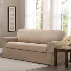 Maytex Conrad Stretch 2-Piece Furniture Slipcover, Beige