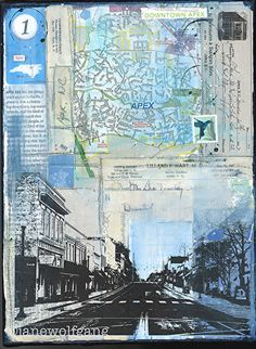 Blue Sky in Apex, NC by Jane Wolfgang Mixed Media ~ 12 x 9