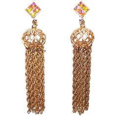 1960's Vendome Iridescent Crystal & Gold Chain Tassel Dangle Earrings